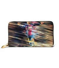 Argentinian FC Barcelona Soccer01 Men's Genuine Leather Zip-around Wallet,Very suitable for every day use Large Slim Leather Wallet In Black,2.5x10.5x19cm,Cowhide.