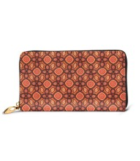 Coral Peach African Gold Metallic Ankara Men's Genuine Leather Zip-around Wallet,Very suitable for business Large Slim Leather Wallet In Black,2.5x10.5x19cm,Cowhide.