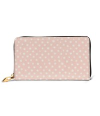 Dear Stella Shell Pink Confetti Dot Men's Genuine Leather Zip-around Wallet,Very suitable for business Large Slim Leather Wallet In Black,2.5x10.5x19cm,Cowhide.