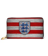 England Soccer Logo Emblem06 Men's Genuine Leather Zip-around Wallet,Very suitable for great for travel Large Slim Leather Wallet In Black,2.5x10.5x19cm,Cowhide.