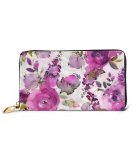 Lush Hand Drawn Watercolor Florals Men's Genuine Leather Zip-around Wallet,Very suitable for business Large Slim Leather Wallet In Black,2.5x10.5x19cm,Cowhide.