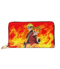 Naruto Uzumaki Naruto Men's Genuine Leather Zip-around Wallet,Very suitable for every day use Large Slim Leather Wallet In Black,2.5x10.5x19cm,Cowhide.