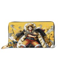 One Piece Luffy Men's Genuine Leather Zip-around Wallet,Very suitable for every day use Large Slim Leather Wallet In Black,2.5x10.5x19cm,Cowhide.