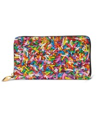 Rainbow Sprinkles Sweet Candy Colorful Men's Genuine Leather Zip-around Wallet,Very suitable for every day use Large Slim Leather Wallet In Black,2.5x10.5x19cm,Cowhide.