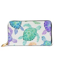 Sea Turtle - Colour Men's Genuine Leather Zip-around Wallet,Very suitable for business Large Slim Leather Wallet In Black,2.5x10.5x19cm,Cowhide.